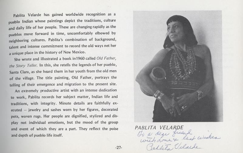 Pablita Velarde - Signed Exhibit Catalog Page