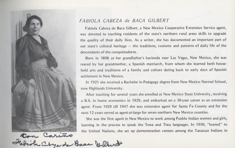 Fabiola Cabeza de Baca Gilbert - Signed Exhibit Catalog Page