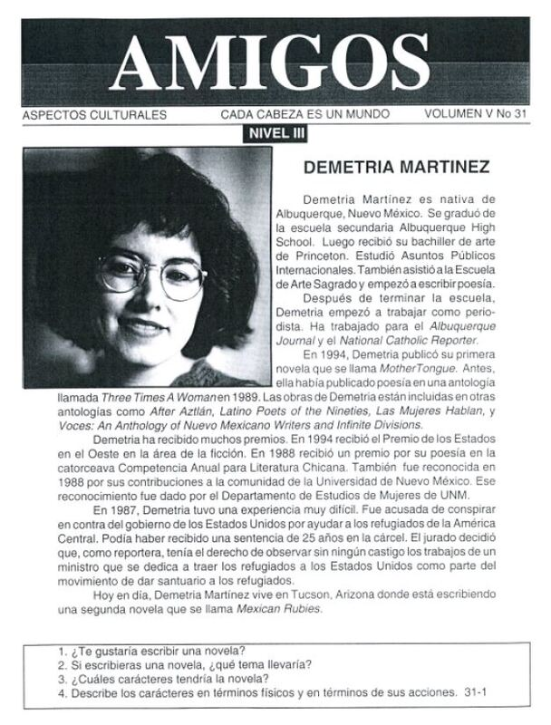 Amigos newsletter biography of Demetria Martínez
