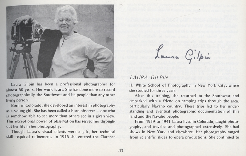 Laura Gilpin - Signed Exhibit Catalog Page